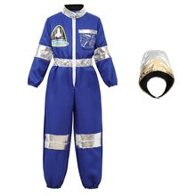 Astronaut Costume for Kids Space Suit Children's Astronaut Jumpsuit Role Play Boys Girls Teens Toddlers Cosplay Halloween Blue(China)