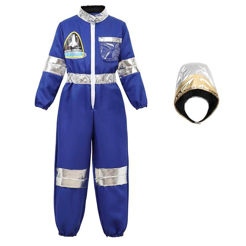 Astronaut Costume for Kids Space Suit Children's Astronaut Jumpsuit Role Play Boys Girls Teens Toddlers Cosplay Halloween Blue