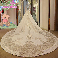 Classic Luxury Real Photo Beaded Appliques Bows A Line Satin Wedding Dresses Royal Train Floor Length