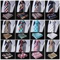 "ECA Check  2.17"" 100%Silk Woven Slim Skinny Narrow Men Tie Necktie Handkerchief Pocket Square Suit Set"