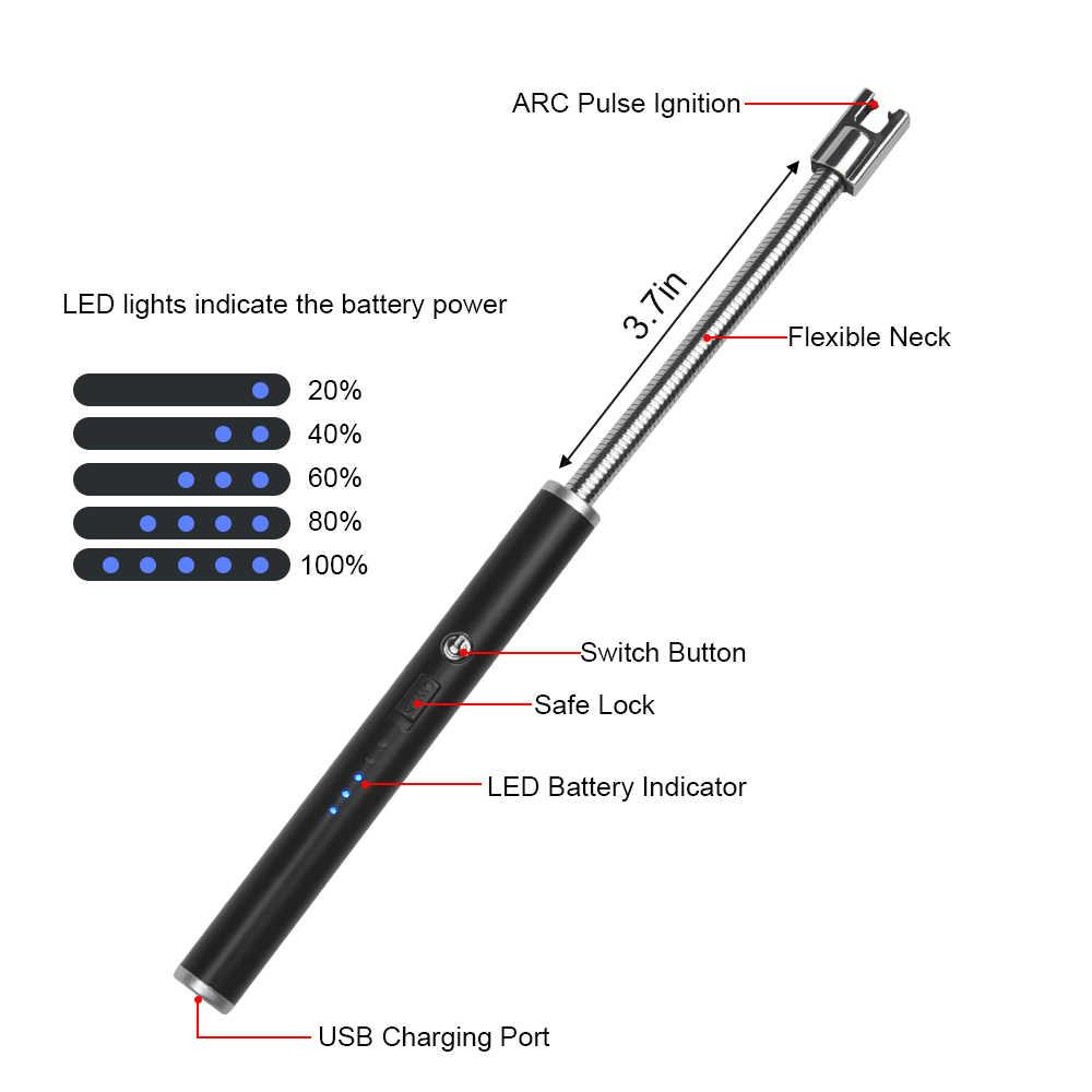 Wiber Mechero el/éctrico de Vela con Interruptor de Seguridad con Pantalla LED y bater/ía Recargable por USB Fuegos Artificiales Cuello Flexible m/ás Largo para Camping barbacoas Cocina