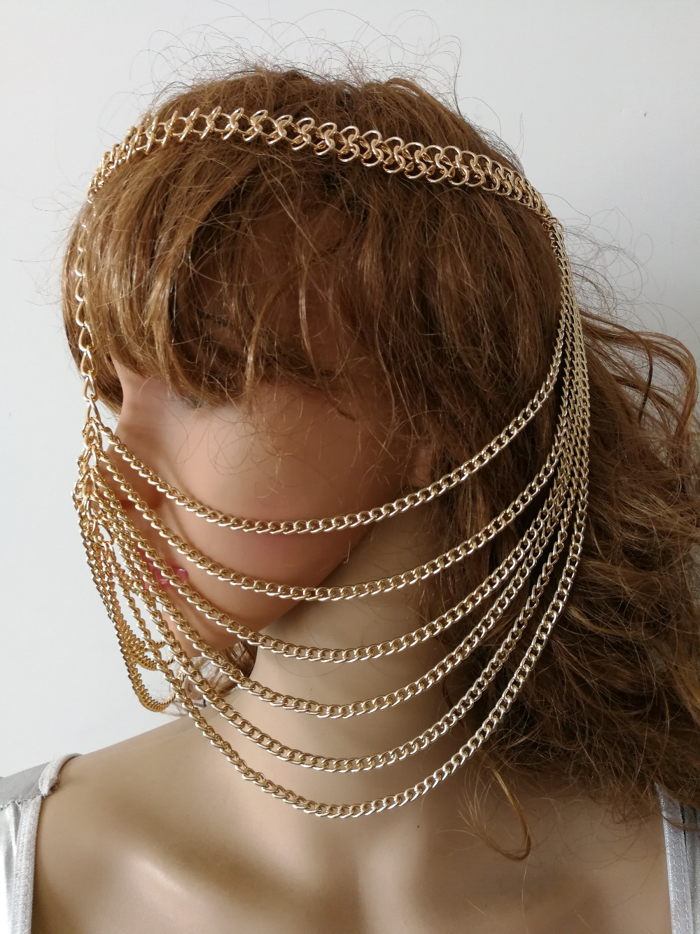 NEW STYLE H774 Women Rock Harness Gold Chains Head Jewelry Unique Design Layers Face Mask Chains Jewelry 3 Colors