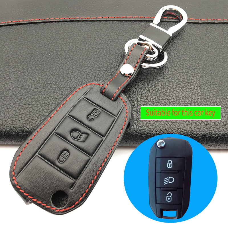 Keyless Remote <font><b>Key</b></font> Fob Genuine Leather Case Skin <font><b>Cover</b></font> Protector For <font><b>Peugeot</b></font> <font><b>3008</b></font> 208 308 508 408 2008 RCZ 307 3 Button Folding image
