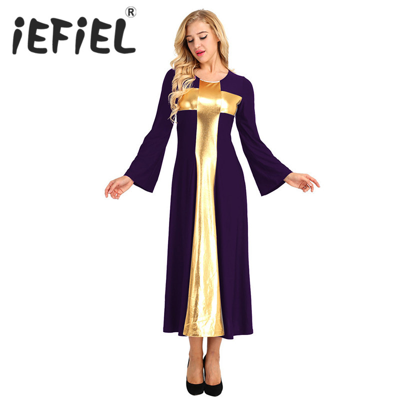 iEFiEL Fashion Women Girls Adults Full Length Praise Dance Dress Loose Fit Metallic Cross Components Long Dancing Princess Dress