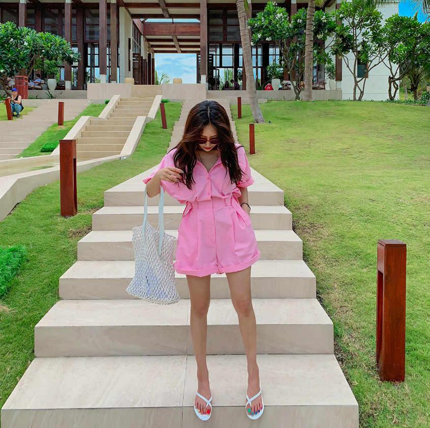 2019 Zomer Korea Dames Elegant korte mouw roze Jumpsuits Turn down kraag Hoge Taille Vrouwen Casual Slanke Wijde Pijpen Rompertjes