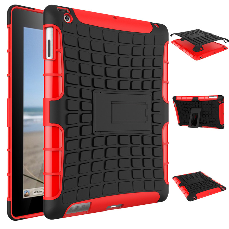 For Apple Ipad 4 Tablet Case Shockproof Heavy Duty Hybrid Rugged Dual Layer Grip Cover Case W/ Kickstand For Apple Ipad 2 3 Case