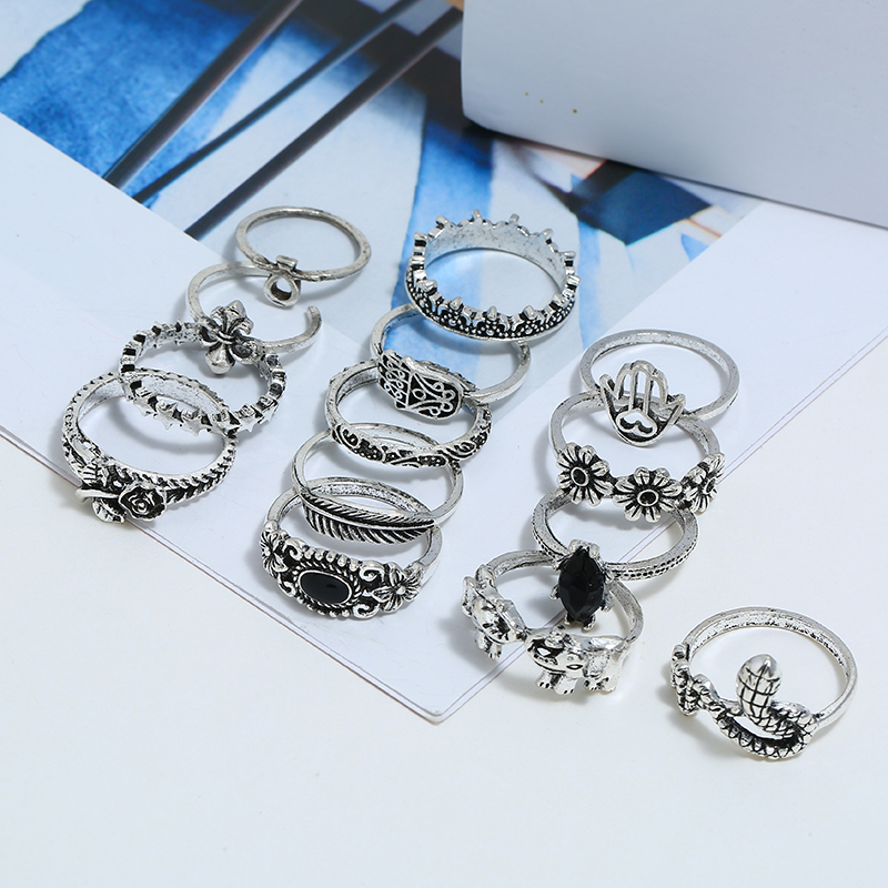 12PCS Set Fashion Leaf Elephant Ring Set Exquisite Flower Circle Vintage Silver Rings Bohemia Style Chain Shape Rings For Women in Rings from Jewelry Accessories