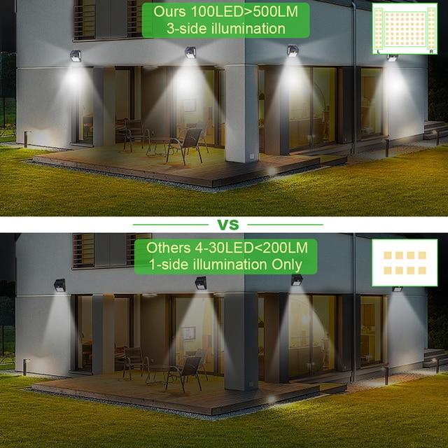 100 LED Solar Light Outdoor Solar Lamp PIR Motion Sensor Wall Light ...VERY BRIGHT 5