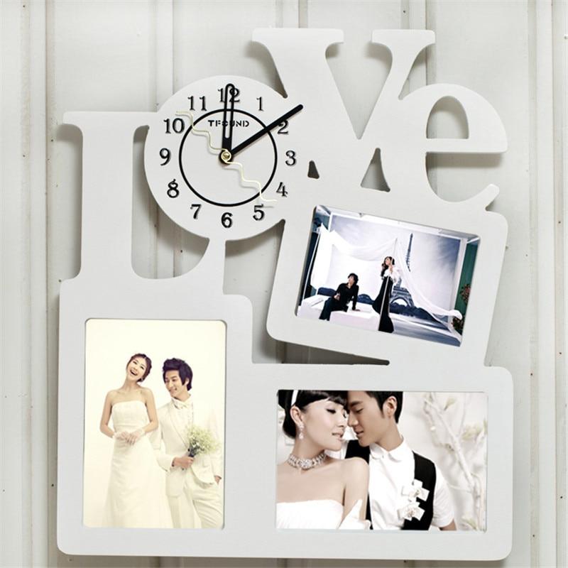 1pcset decorative wall clock modern design mechanism silent wedding wall decor large clocks wood