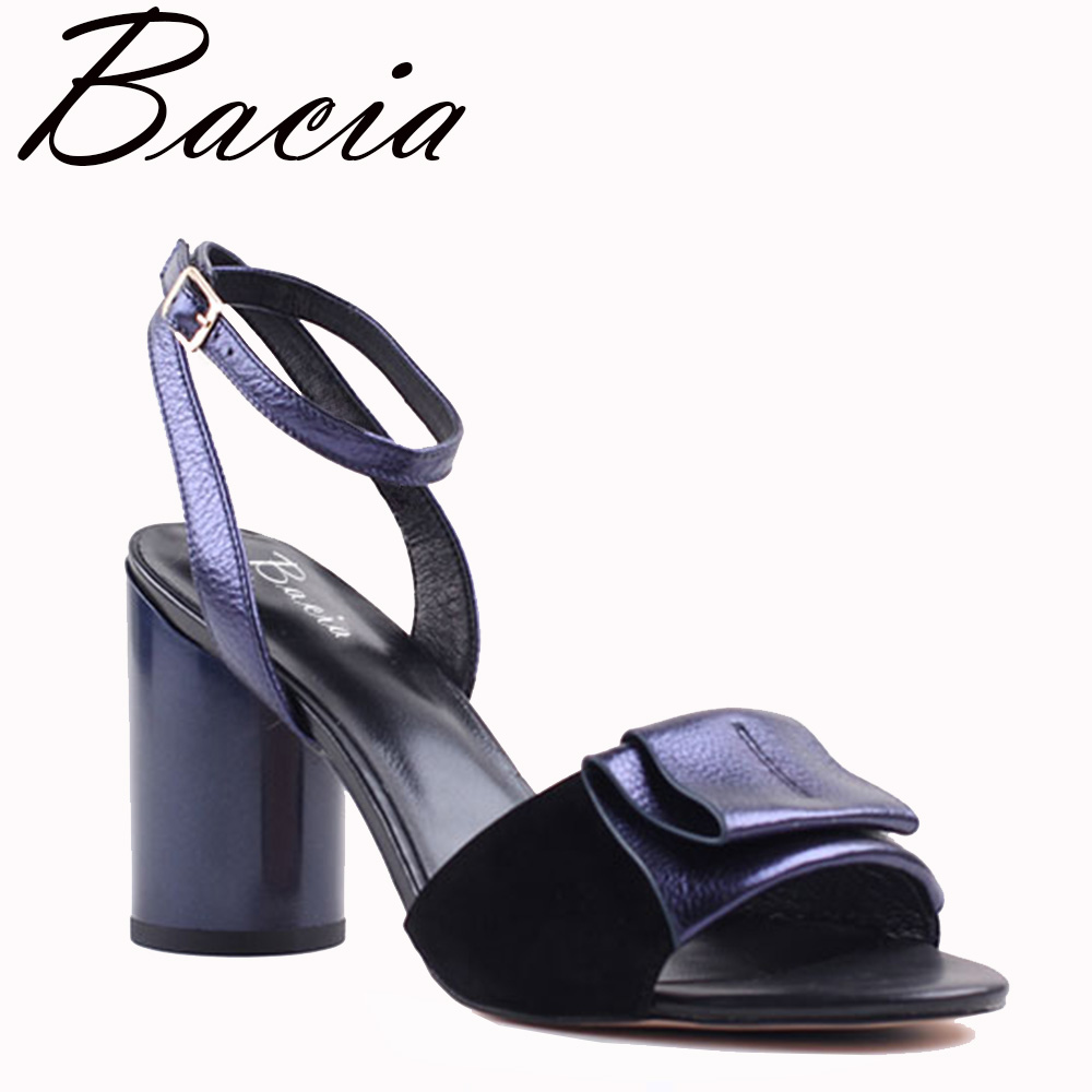 Bacia Sheepskin Sandals 2017 New Strange Style Heels Cross-Strap Back Strap Women High Pumps Leather Shoes Size 35-40 VXA027 blueness 10pcs lot red cherry 3d nail art charm decorations alloy glitter jewelry rhinestones for nail studs tools diy gem tn061