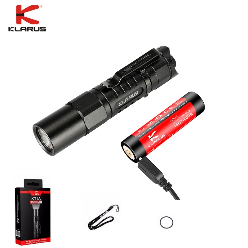 Klarus XT1A LED Flashlight CREE XP-L HD V6 1000 Lumens Tactical Flashlight Compact Handheld Torch With 14500 Battery