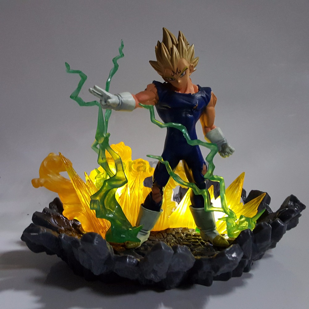 Dragon Ball Z Evil Vegeta Power Up Anime Dragon Ball Super Action Figure DBZ Vegeta Son Goku Collectible Led Model Toy dragon ball z super big size super son goku pvc action figure collectible model toy 28cm kt3936