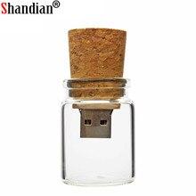 SHANDIAN Glass bottle with Cork USB Flash Drive pendrive 4GB 8GB 16GB 32GB
