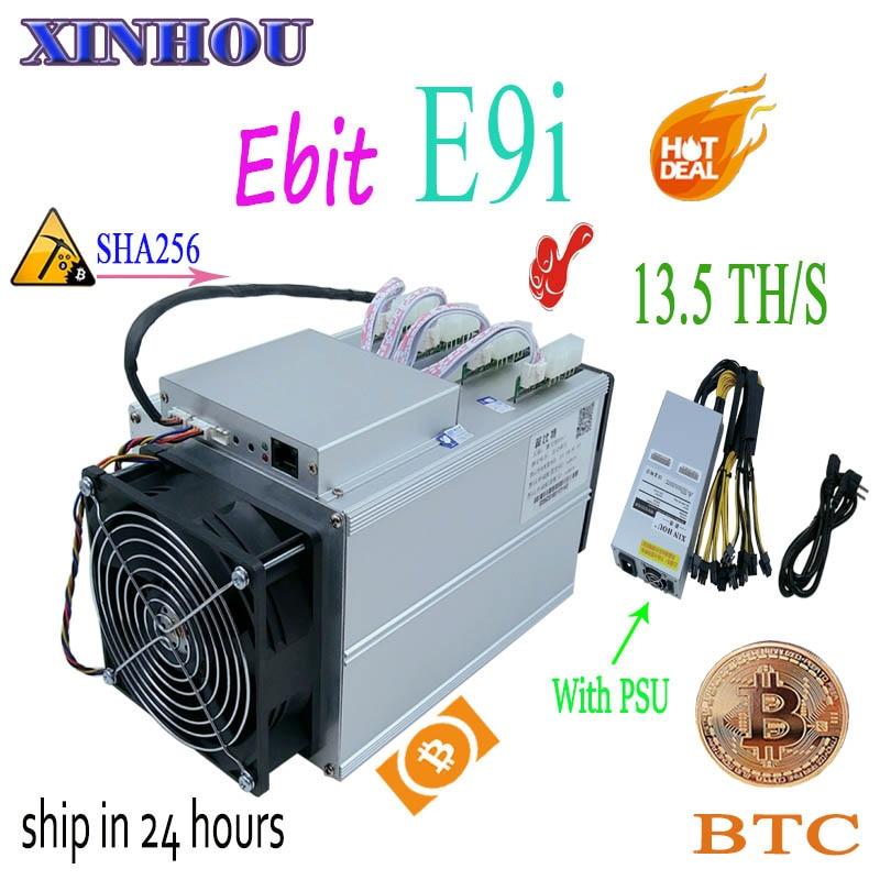 Utilisé bitcoin mineur Ebit E9i 13.5T SHA256 Asic mineur avec PSU BTC BCH extraction mieux que E10 antminer S9 S11 S15 T15 B7 M10 M3 T3