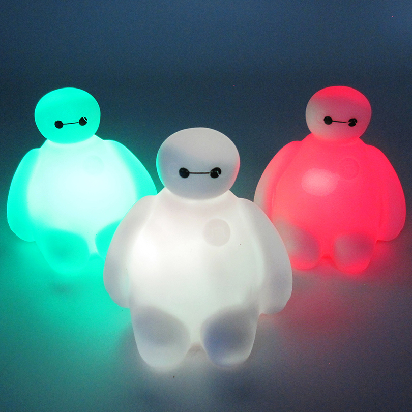7 Color Changing Big Hero 6 Cartoon BayMax LED Night Light Table Desk Lamp Bedroom Decoration Amazing Kids Baby Toy Gift 6 inch 16cm big hero 6 baymax robot action figure cartoon movie baymax removable armor 2015 new holiday gift kids toys