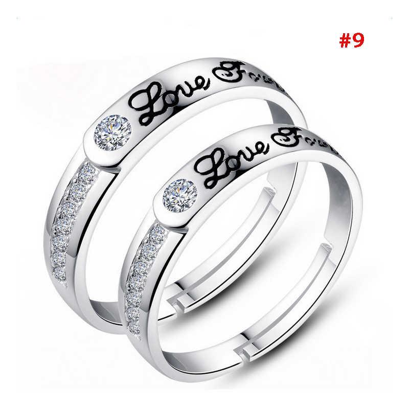 1 זוג כסף מצופה לב אוהבי הבטחת זוג טבעות סט זירקון קריסטל טבעת נישואים שונים זוג טבעת תכשיטים