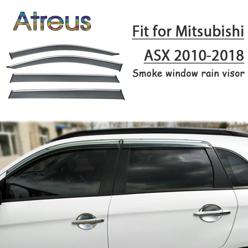 Atreus 1set ABS For 2018 2017 2016 2015-2010 Mitsubishi ASX Accessories Car Vent Sun Deflectors Guard Smoke Window Rain Visor chrome stris window visor sun shade vent guard deflector for mitsubishi asx rvr outlander sport 2010 2011 2012 2013 2014 2015