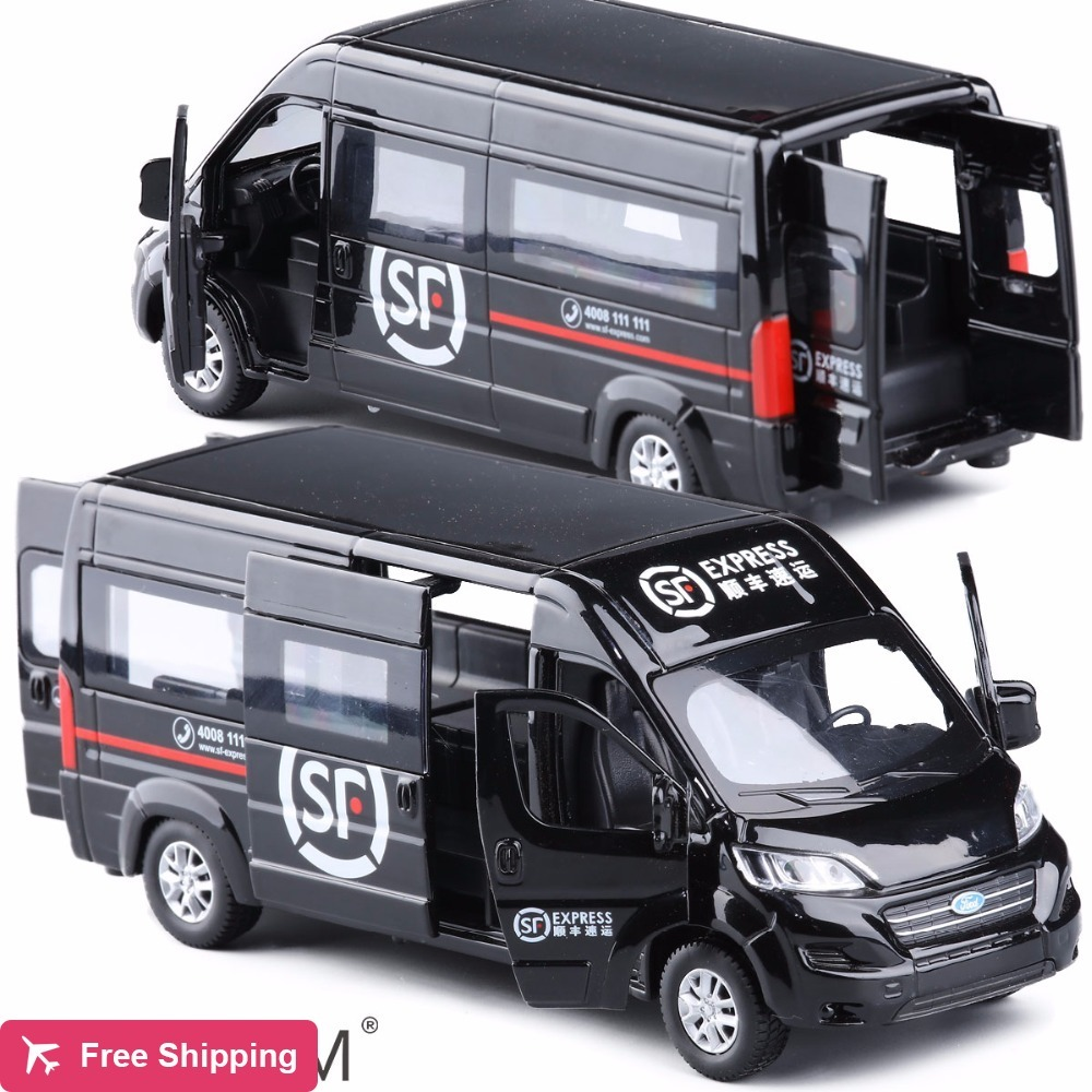 High Simulation 1:32 Ford TRANSIT Vans Alloy Car Model Metal Diecasts Toy Vehicles With Pull Back Flashing Musical Free Shipping