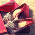 Chinese diamond wedding shoes red shoes with a fine woman to marry the bride with red shoes dragon cheongsam shoes
