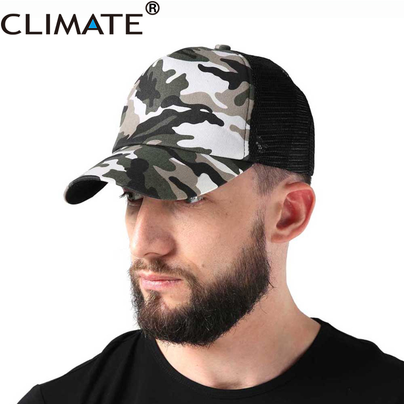CLIMATE Men Women Summer Camouflage Mesh Trucker Caps Fishing Hunting Caps Cool Hats for adult man woman adjustable Trucker cap climate men women summer cool mesh cap remix music dj hardwell on air fans cool baseball mesh summer net trucker caps hat fans