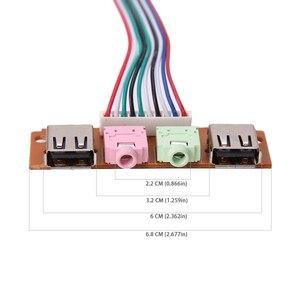 Image 3 - 2 USB 2.0 PC bilgisayar kasa ön Panel USB ses jakları Port masaüstü bilgisayar USB uzatma tel için mikrofon kulaklık kablo kordonu