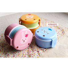 Cute animal lunch box Japanese double-layer round Mini Childrens Microwave Box B