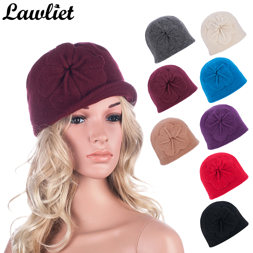 Winter Women Hats Beanies Cloche Ladies Wool Cap Bucket Floral Warm Hats for Women Bonnet Femme Skullies Beanies Female Cap A289 wool hat women warm winter hats solid flower thick knitted lady beanies hat skullies bonnet femme bucket cloche winter cap 2017