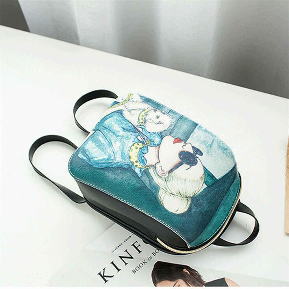 Frauen mode rucksack cartoon druck mini tasche outdoor freizeit schulter tasche canta schule tasche