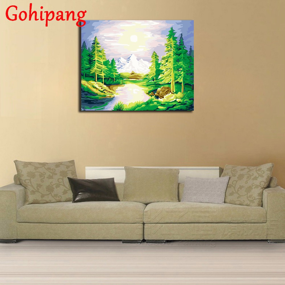 DIY Green Lake Landscape Digital Oil Painting On Canvas Pictures ...