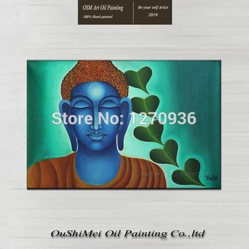 Hand-painted Modern India Original Buddha Calligraphy Wall Artwork Craft Picture Handmade Home Decorative Oil Painting On Canvas
