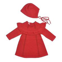 Autumn Winter Baby Toddler Girls Sweaters Dress with Hat