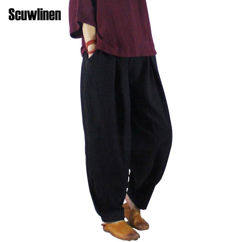 SCUWLINEN 2017 Women Harem Pant Vintage Plus Size Elastic Waist Solid Linen Cotton Pants for Women Loose Casual Bloomers W2610 casual drawstring elastic waist loose harem pants for women