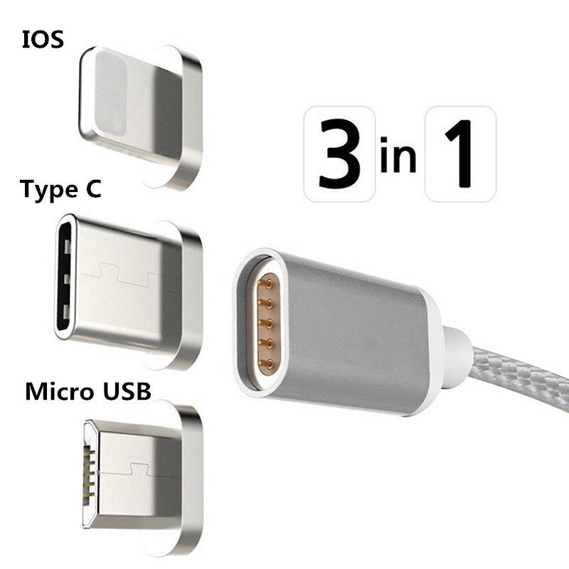 Cable magnético 3 en 1 IOS/Tipo C USB/Micro USB Cable de carga para teléfono Android para iPhone X 8 7 6 6 S 5 5S Plus