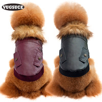 VUGSUCE Pet Dog Leather Jacket Coat Warm Wool Windproof Dog Clothes For Small Medium Large Winter
