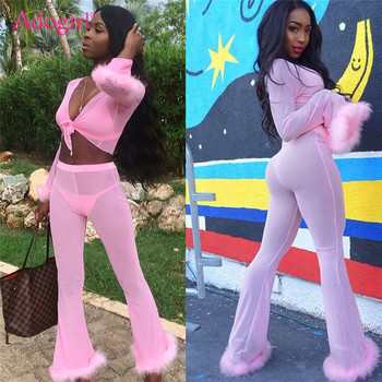 Adogirl Solid Pink Feather Chiffon 4 Piece Set Long Sleeve Cardigan + Bra Top + Thong + Flare Pants Women Sexy Club Outfits Suit