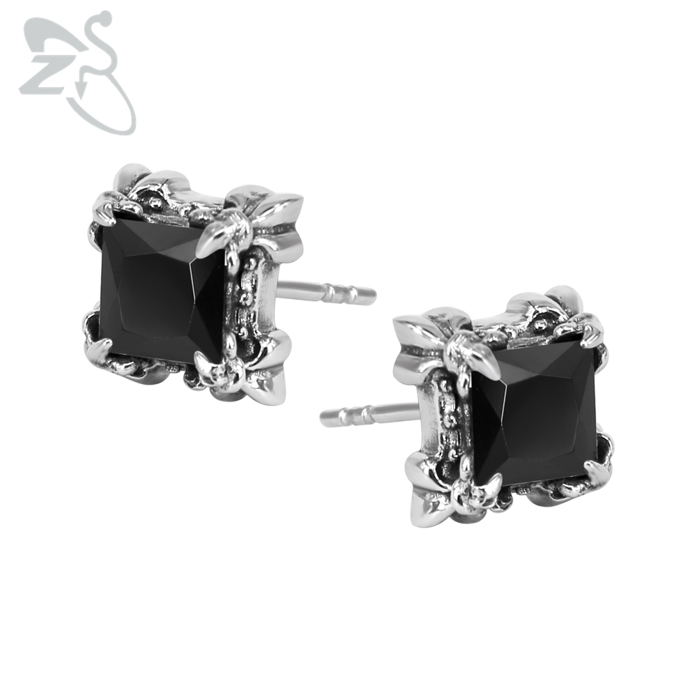 Silver Stud Earrings With Stone Crystal Surgical Steel Top Quality Ear Studs Piercings Cubic Zircon Earring For Girls Men Party