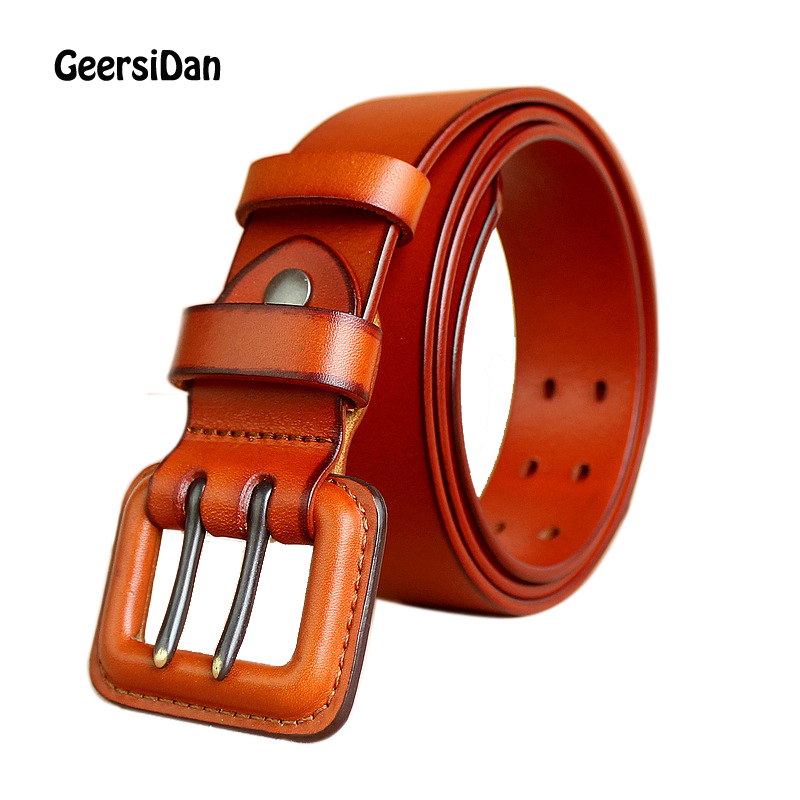 2018 New Fashion Personality buckle men belt vintage designer cowhide genuine leather belt for men high quality jeans ceintures