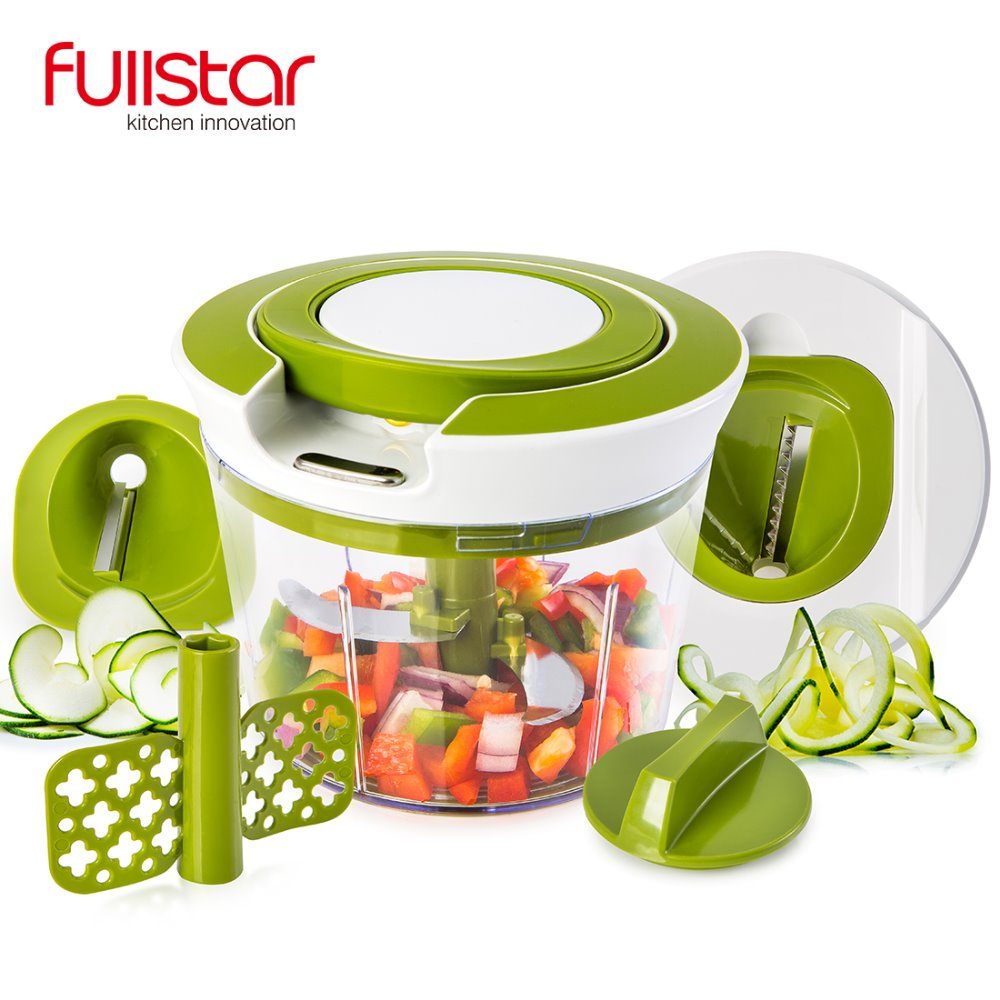 Quick Pull String Food Chopper Spiral Slicer Powerful Manual Hand Held Chooper/Mixer/Blender