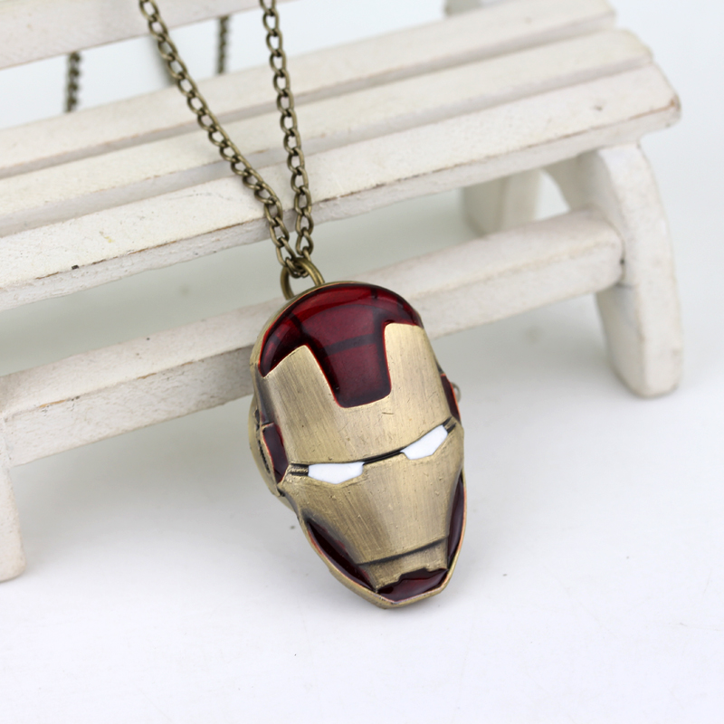 New Iron Man Pocket Watch Adventure Movies Quartz Locket Watch Fob Superhero Bronze Pocket Watch Pendant Fans Gifts