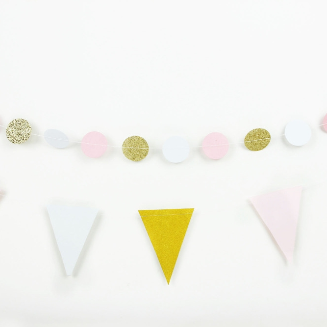 7pcs set Pink And White Paper Crafts Chinese Paper Lantern Flag Bunting Wedding Celebration Birthday Party Nursery Decoration in Party DIY Decorations from Home Garden