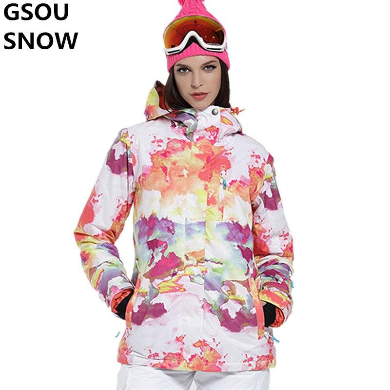 Prix pour Gsou Neige Nouveau Ski Veste Femmes Snowboard Vestes Imperméable Respirant 10000 Ski Snowboard Dames Veste Super Chaud Manteaux