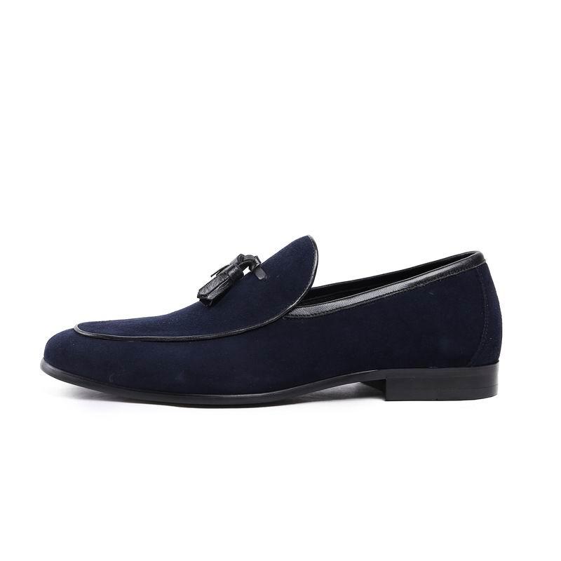 Moda Redonda Llegada Dedo Barco Hombre Nubuck Casual As Zapatos Nueva Resbalón Loafer En Pie Para Borla azul Cuero Hombres Errfc Suede Azul De Picture Del 8w0qCA