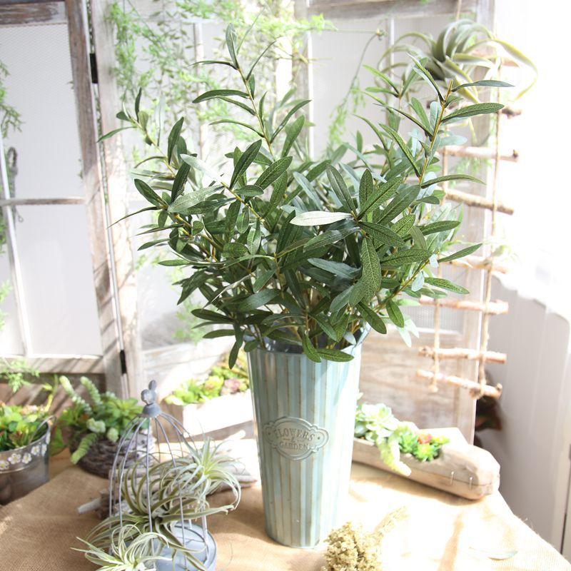 Grön Konstgjord Olive Branch Simulerings Plant Olive Leaf Hem - Semester och fester