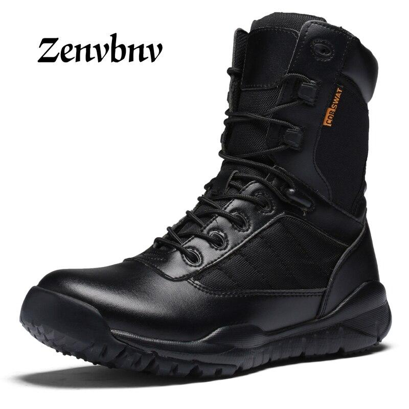ZENVBNV Hommes Militaire Tactique Bottes D'hiver En Cuir Noir Spécial Force Désert Cheville Combat Bottes De Sécurité Au Travail Chaussures Armée Bottes