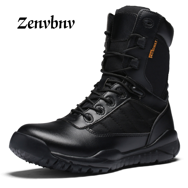 ZENVBNV Men Military Tactical Boots Winter Leather Black Special Force Desert Ankle Combat Boots Safety Work Shoes Army Boots цены