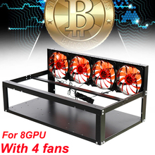 Open Air Crypto Coin Mining Frame Case Miner Rigs Graphics Case Computer for 8GPU ETH BTC ZEC Ethereum Server Chassis + 4Fans