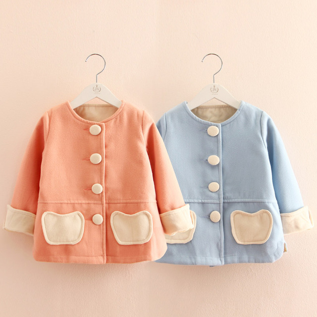 2017 spring baby girls clothing child o-neck wool coat outerwear Girls jacket Children's Coat 3-10T