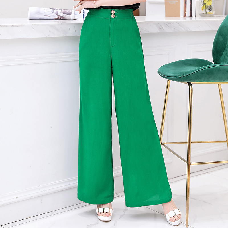 2019 New Cotton Linen Soft   Wide     Leg   Women   Pants   Elastic Waist Solid Color Summer Loose Trousers High Waist   Pant   Plus Size XL-5XL