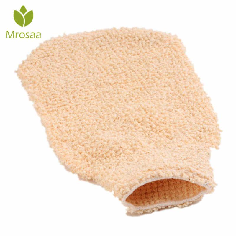 Mrosaa rękawica kąpielowa z powrotem prysznic Scrubber złuszczający peeling mycia skóry SPA pianka ręcznik prysznic z hydromasażem rękawice konopi do ciała gąbki