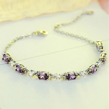 S925 Purple Silver Bangles Female Amethyst Bracelet Jewelry Original Design Cubic Zircon Lucky Charm Womens YBR083